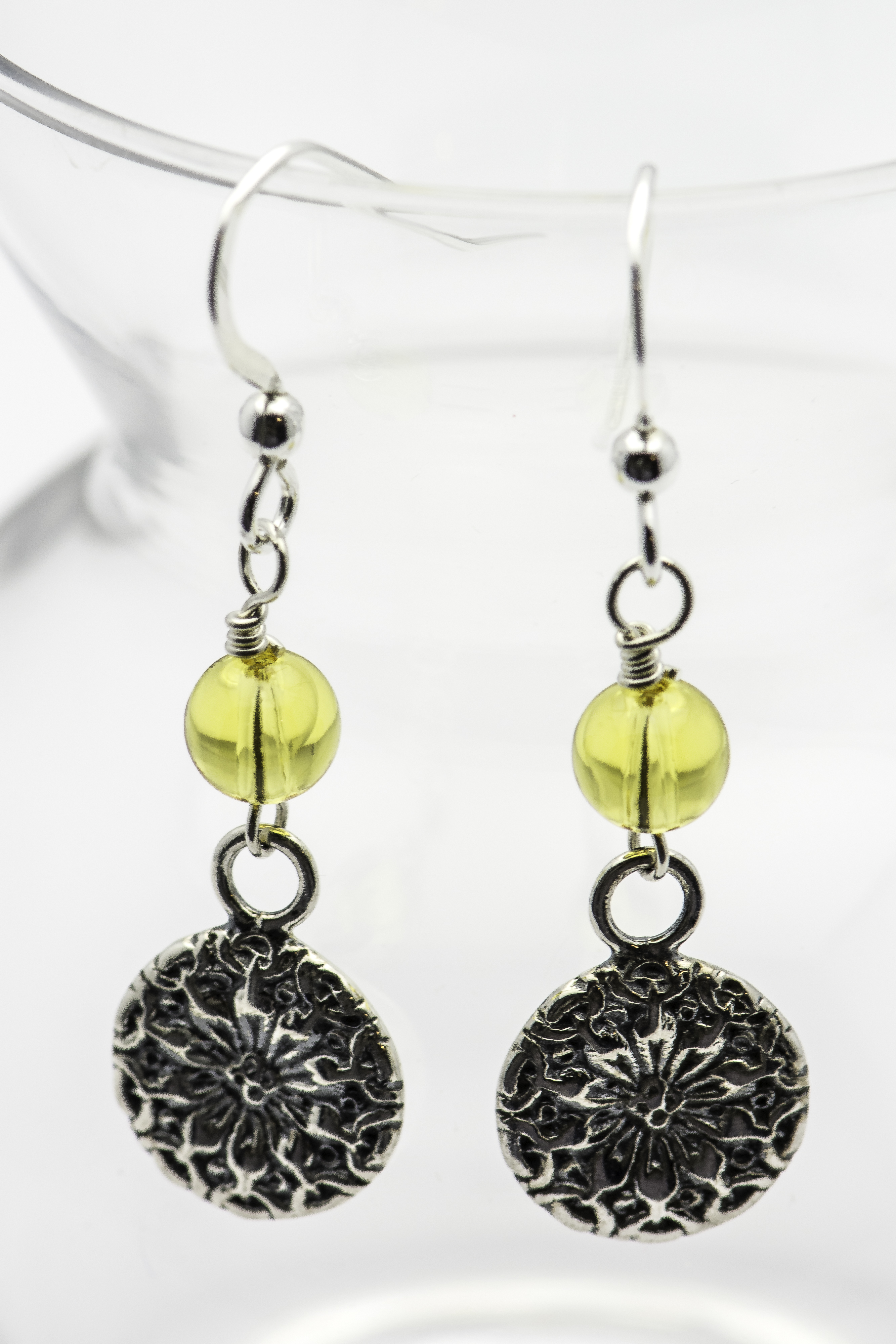 Sunflower Earrings Sterling Silver Earrings Black